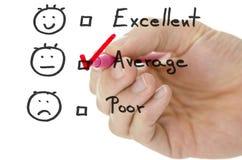 De evaluatievorm van de klantendienst met tik gemiddeld stock afbeeldingen