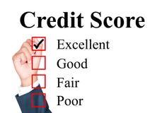 De evaluatievorm van de kredietscore stock afbeeldingen