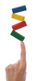 De In evenwicht brengende Blokken van de hand op Vinger Royalty-vrije Stock Foto