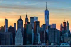 De evoluerende horizon Van de binnenstad van Manhattan Stock Fotografie