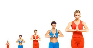 De evolutie van de yoga stock fotografie