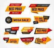 De exclusieve reeks van de het prijskaartje vectorsticker van de verkoopsupermarkt Stock Afbeelding