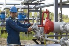 De Exploitant van de Productie van het gas Stock Foto