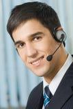 De exploitant van de steun in hoofdtelefoon stock afbeelding