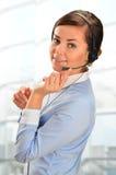 De Exploitant van het Call centre Klantenondersteuning 3D weinig menselijk karakter in een Call centre Stock Foto