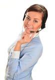 De Exploitant van het Call centre Klantenondersteuning 3D weinig menselijk karakter in een Call centre Royalty-vrije Stock Foto