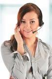 De Exploitant van het Call centre Klantenondersteuning 3D weinig menselijk karakter in een Call centre Stock Afbeelding
