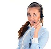 De Exploitant van het Call centre Klantenondersteuning 3D weinig menselijk karakter in een Call centre Royalty-vrije Stock Afbeelding