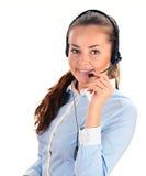 De Exploitant van het Call centre Klantenondersteuning 3D weinig menselijk karakter in een Call centre Stock Afbeeldingen