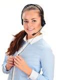 De Exploitant van het Call centre Klantenondersteuning 3D weinig menselijk karakter in een Call centre Royalty-vrije Stock Foto's