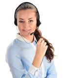 De Exploitant van het Call centre Klantenondersteuning 3D weinig menselijk karakter in een Call centre Stock Foto's