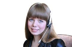 De Exploitant van het meisje met Hoofdtelefoon over Wit Stock Afbeelding