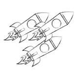 De exploratie van de drie rakettenruimtevaart vector illustratie