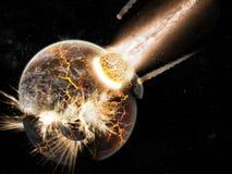 De exploratie van het heelal - aardeeind van tijd Royalty-vrije Stock Afbeeldingen