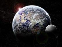 De exploratie van het heelal - de verduistering van de Maan ter wereld Stock Foto's