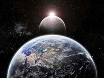 De exploratie van het heelal - de verduistering van de Maan ter wereld Stock Afbeeldingen