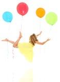 De Exploratie van het Kind van de ballon en Vreedzame Reis Stock Afbeelding
