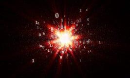 De explosie van binaire sterren in cyberspace Stock Afbeelding