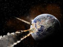 De explosie van de planeet - de exploratie van het Heelal Stock Foto