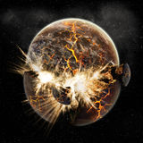 De explosie van de planeet - de exploratie van het Heelal Stock Afbeeldingen