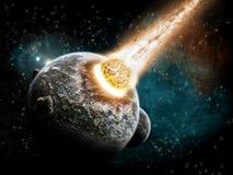 De explosie van de planeet - de exploratie van het Heelal Stock Afbeelding
