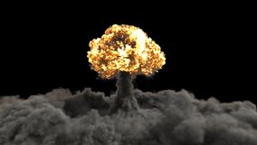 De explosie van een atoombom De realistische 3D VFX-animatie van atoombomexplosie met brand, de rook en de paddestoel betrekken stock illustratie