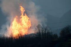De explosie van het gas in Toscanië, Italië - verwond verscheidene Stock Fotografie