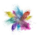 De explosie van het kleurenpoeder die op wit wordt geïsoleerd Royalty-vrije Stock Foto's