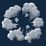 De explosie van de rookwolk De vector van het het beeldverhaalkader van de stofrookwolk vector illustratie