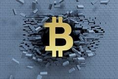 De explosieve groei van bitcoin, 3d concept Stock Afbeeldingen