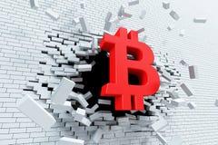 De explosieve groei van bitcoin, 3d concept royalty-vrije illustratie
