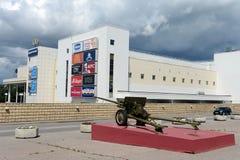 De expositie van het artilleriemateriaal tijdens de grote Patriottische oorlog bij het Museum van defensie van Moskou in het Olym Royalty-vrije Stock Foto's