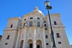 De externe voorvoorgevel van het Nationale Pantheon Santa Engracia Church in Alfama-neighboorhood, Lissabon, Portugal Stock Foto