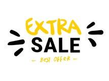 De extra Verkoop isoleerde geel zwart stickerpictogram r Geschreven hand Borstel het Van letters voorzien Beste Aanbieding vector illustratie