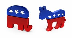 De Ezel van de democraat en Republikeinse Olifant Stock Afbeeldingen