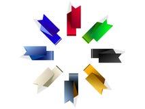 De färgade flaggorna stock illustrationer