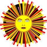 De fête, carnaval Sun avec les rayons multicolores. Images libres de droits