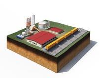De fabriek van de grintproductie vector illustratie