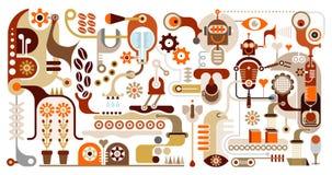 De Fabriek van de koffie - abstracte vectorillustratie Royalty-vrije Stock Afbeeldingen