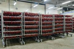 De fabriek voor de productie van voedsel van natuurlijke Ingrediënten Slager Shop Het afslachten rundvlees Stock Fotografie