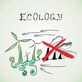 De fabrieken van ecologiewindmolens kruisten rode lijnen Stock Foto's