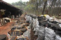 De fabrieksarbeider van de houtskool Stock Afbeelding