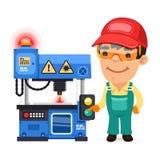 De fabrieksarbeider werkt aan Laserplotter Stock Foto's