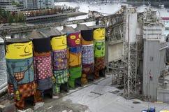 De fabriekskunstwerk van de cementbouw Stock Foto's