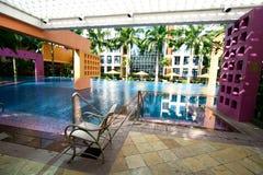 De faciliteiten van de pool van een privé flat. Stock Foto's