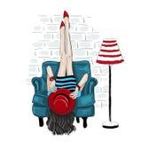 De Fahionvrouw rised omhoog benen op een muur stock illustratie
