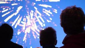 De familie bekijkt de hemel bij het vuurwerk De nachthemel in lichten stock videobeelden
