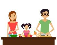 De familie bereidt voedsel voor Stock Foto