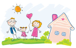 De familie beweegt zich in nieuw huis stock illustratie