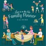 De familie die diner eten thuis, gelukkige mensen eet voedsel samen, behandelen het mamma en de papa grootvaderzitting door eetta vector illustratie